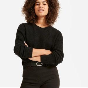 NWT Everlane Teddy Black Wool Blend Crew Sweater